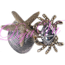 Fish Shell Brooch Pin Pendant Two Tone Plated Crab Star