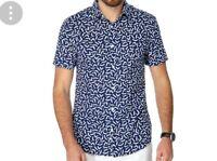 101# J by Jasper Conran-Blue printed short sleeve shirt size M RRP£40