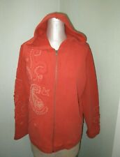 CHICOS RED FRONT ZIP EMBELLISHED HOODIE NWT SZ 3 L