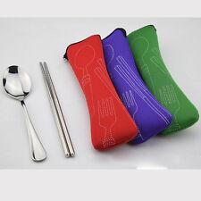 Stainless Steel Dinnerware Set Chopsticks Fork Spoon Portable Safe Silverware