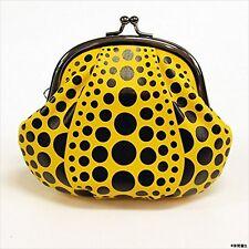 F/S YAYOI KUSAMA Purse Wallet Coin Case Pumpkin Dot Yellow Rare Japan Licensed