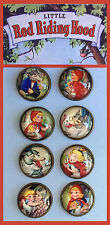 RED RIDING HOOD Studio GLASS DOME BUTTONS from VINTAGE ART Fairy Tale SET OF 8