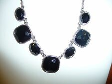 NWT Trifari Signed Necklace  Black Faceted Stones Silvertone Settings & Chain