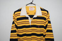 Brooks Brothers Mens Long Sleeve Striped Rugby Polo Shirt Yellow Black M EUC