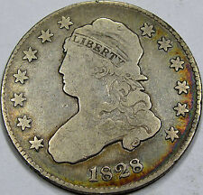 1828 Lg. Size Capped Bust Quarter Dollar Choice F+... Pretty Album Rim Toning!!!