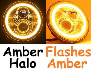 "7""LED Headlights AMBER Fiat 850 600 1500-2300 1500 132 130 Flash AMBER turning"
