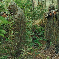 3D Leaves Camouflage Ghillie Poncho Camo Cape Cloak Stealth Ghillie Suit