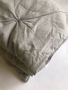 West Elm Twin Comforter Gray Farmhouse Bedding Modern Neutral Quilted