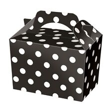 10 Black Polka Dot Party Boxes - Spotty Food Loot Lunch Cardboard Gift