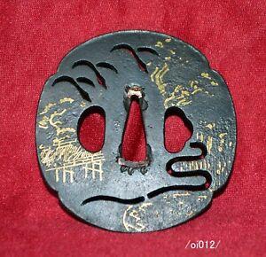 Excellent work, TSUBA ,NUNOME-inlay,Kyoto Arashiyama scenery,Edo,iron/oi012/