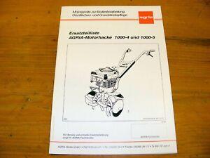 Agria 1000-4 und 1000-5 Ersatzteilliste  Motorhacke ETL Teileliste Ersatzteile