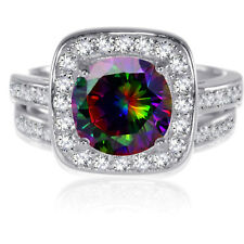 Sterling Silver Round Brilliant Cut Rainbow Topaz CZ Wedding Engagement Ring Set