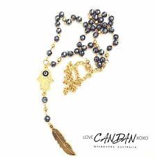 Evil Eye Rosary Hematite Hamsa Hand Of Fatima Angel Feather Necklace Bohemian