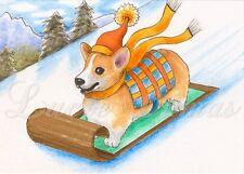 ACEO art print Dog 47 Corgi winter sliding from original painting L.Dumas
