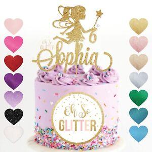 Fairy angel cake topper, princess birthday gold glitter customised custom topper
