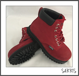 Ladies Safety Work Boots Steel Toe Cap - Many Sizes - Red