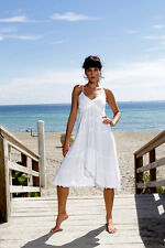 SOPHIE Spaghetti Straps Asymmetrical Mid Calf Organic Cotton Dress