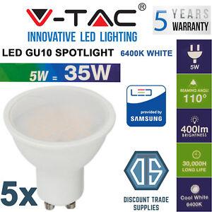 5x V-TAC 5W 400lm LED GU10 Spotlight Samsung Chip Cool White Daylight 6400K