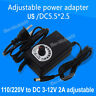 AC 110V-220V to DC 3V 5V 6V 12V 2A Adjustable Power Adapter LED Speed Controller