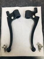 """Pair Black Alloy brake & clutch lever set -7/8""""  BSA TRIUMPH NORTON AJS VINCENT"""