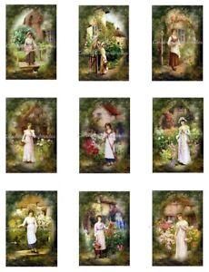 """Cottage Garden Ladies Repro Cotton Fabric Quilt Blocks (9) Images @ 2X3"""" Each"""