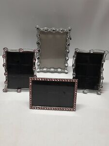 Lot of 4 Photo Frame Hearts Rhinestones Picture Frames