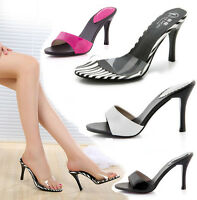 Sexy Women Stilettos Slide Mules High Heels Patent leather Sandals Slip On Shoes