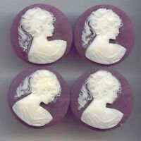 4 VINTAGE PURPLE VICTORIAN LADY HEAD PONY TAIL ACRYLIC 30mm. ROUND CAMEO C13