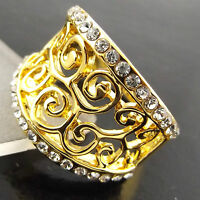 RING GENUINE REAL 18K YELLOW G/F GOLD DIAMOND SIMULATED ANTIQUE FILIGREE DESIGN