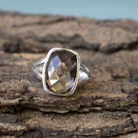 Checker Cut Smoky Quartz 925 Sterling Silver Artisan Handmade Lovely Gift Ring