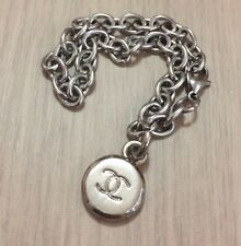 Vintage 90s French Design Small Medallion Charm in Stainless Bracelet #SALE