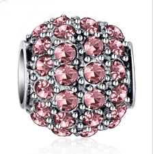 NEW Silver European CZ Charm Pink Crystal Spacer Beads Fit Necklace Bracelet