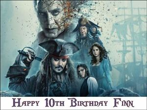 Pirates Of The Caribbean 5 A4 Size Novelty Edible Birthday Cake Topper #2
