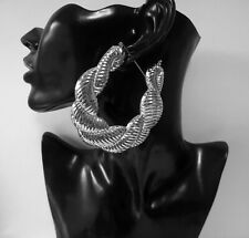 HUGE 8cm SILVER metal twisted creole style BIG hoop earrings - Chunky -Puffed up