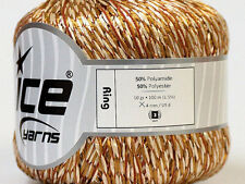 Ring Ribbon Yarn Ice 27881 - Olive-Gold, Cream White, Russet 50gr 109 yards