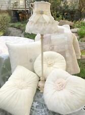 Shabby French Provincial Country Chic Cottage Ivory Lace Table Bed Lamp & Shade