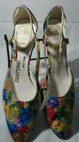 """Shoes Womens Floral Ankle Strappy 3"""" Vintage USA"""