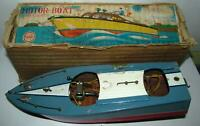 Linemar Battery Operated Wooden Motor Boat, Working, with Box