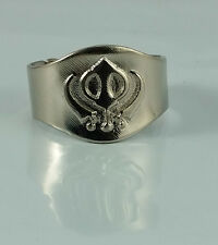 Beautiful UNISEX Stunning Chrome Plated Punjabi Sikh Khanda Ring Adjustable Size