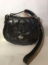NWOT Black Tooled Leather Cross Body Handbag