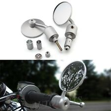 "Chrome Motorcycle Handle Bar End 7/8"" Convex Mirrors Cafe Racer Bobber Clubman"