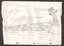 "Flintstones Animation Art - Background ""Rock Rockstone"" Bg 7 Scene 6"