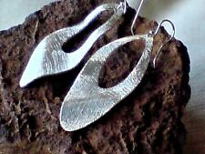 HANDCRAFTED STERLING SILVER UNIQUE LEAF DESIGN DROP 50mm.x 20mm EARRINGS £35.95