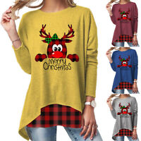 Women Tops Christmas Print Long Sleeve T Shirt Plaid Tee Blouse Casual Pullover
