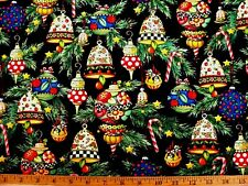 Rare Qt Mary Engelbreit Fancy Christmas Ornaments On Black Cotton Fabric Fq