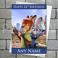 Zootopia personalised birthday card. 5x7 inches. Disney.