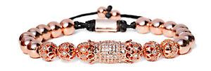 14kt Luxury Clear Zirconia Crown Flower Copper Beads Women Men Bracelets Jewelry