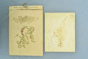 Antique GIBSON ART ROSES ON YOUR WAY 1894 WEDDING BOOK + 1897 BABY BOOK  #01392