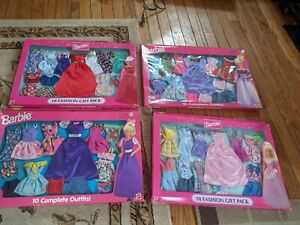 Lot of 4 Barbie Fashion 10 Fashion Gift Pack 1997/98 Outfits and Shoes New!