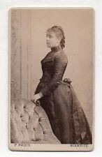 PHOTO CDV P. FROIS à BIARRITZ - Portrait Studio Femme Robe Vers 1880 Vintage